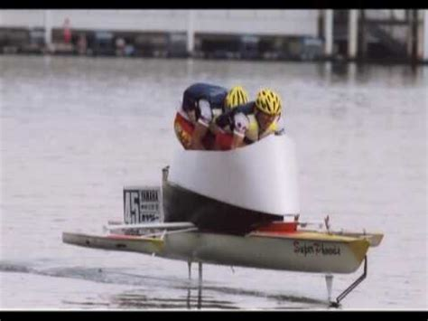 Man Powered Hydrofoil Boat by Hydrofoil World Speed Record Set Ray Vellinga Video