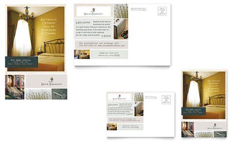 bed breakfast motel postcard template design