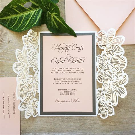 White Shimmer Laser Cut Wedding Invitation With