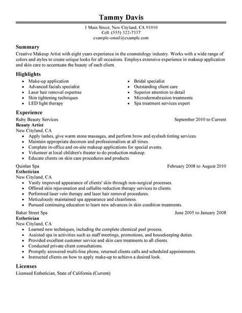 Resume For Esthetician by Artist Resume Exle Sle Cosmetology Exles