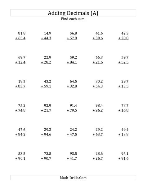 Worksheets On Adding And Subtracting Decimals Worksheets For All  Download And Share Worksheets