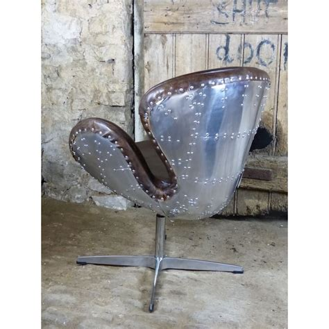 aviator chair swivel  brown leather  metal backed