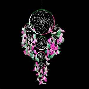 Grand Attrape Reve : grand attrape r ve dreamcatcher vert blanc et rose fuchsia plumes naturelles achat vente ~ Teatrodelosmanantiales.com Idées de Décoration