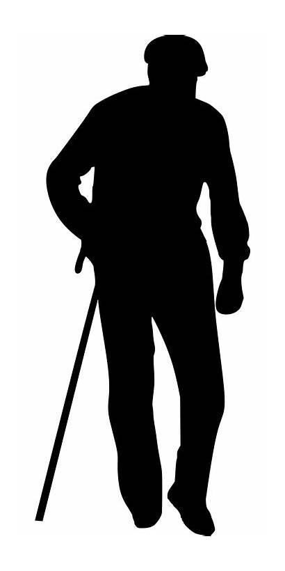 Silhouette Walking Senior Pixabay Cane Silhouettes Roger