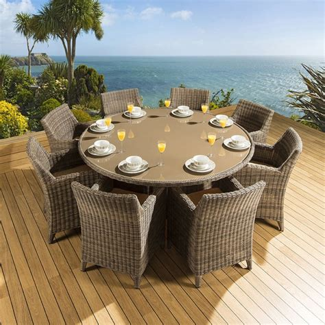 round outdoor dining table for 8 rattan garden outdoor dining set round table 8 chairs