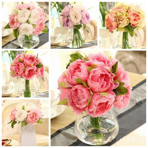 heads artificial silk flower peony wedding bouquet