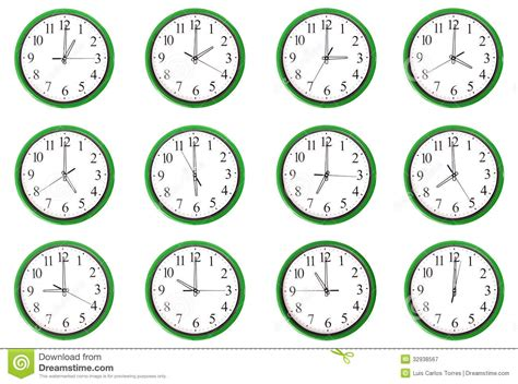 12 Different Hours Stock Image