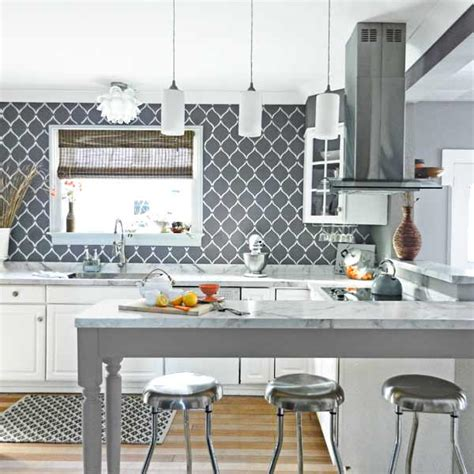 painted backsplash ideas kitchen from bore to adore stencil wall painting practically organized