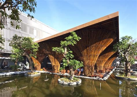15 Conical Bamboo Pillars Hold Up Gorgeous Open Air Cafe in Viet Nam   Inhabitat   Green Design