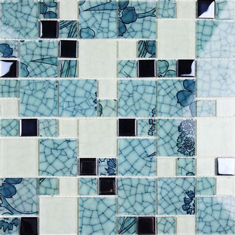 glass mosaic wall murals blue and white glass tile