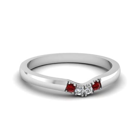 classic  diamond curved womens wedding band  ruby