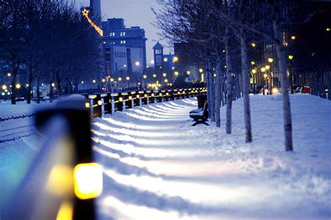 montreal snow lights winter city canada wallpapers hd