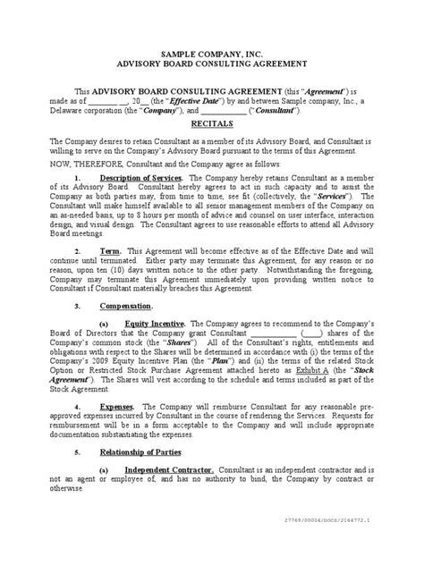 sample advisory board agreement trade secret patent