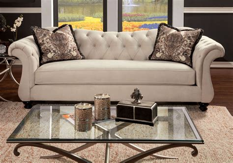 Furniture Loveseats by Antoinette Beige Premium Fabric Sofa From Furniture Of