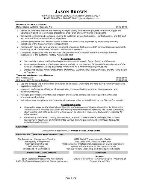 technical trainer sle resume sle of a resume