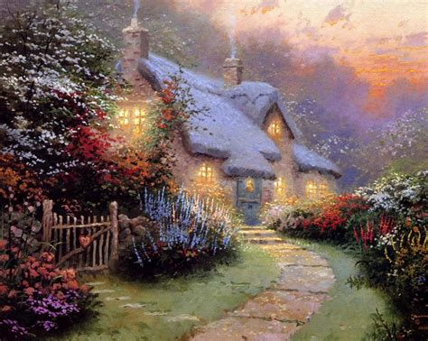 home interiors kinkade prints hd original prints oil paintings on canvas thomas kinkade glory of evening in painting