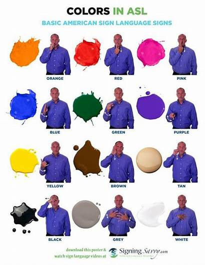 Asl Language Sign Colors American Signs Word