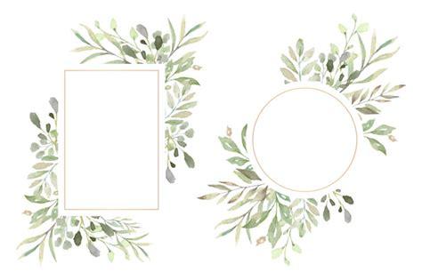 cadres floraux avec de belles feuilles daquarelle