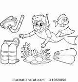 Snorkel Clipart Illustration Royalty Coloring Visekart Template sketch template