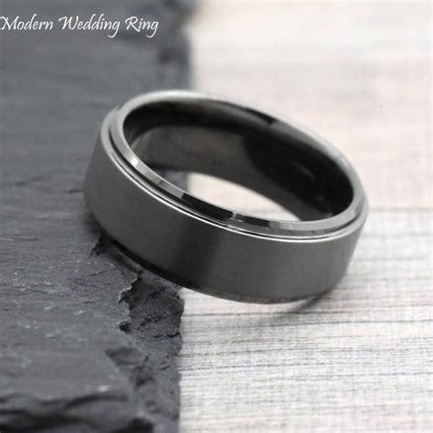 dark grey wedding band gunmetal color mens wedding band