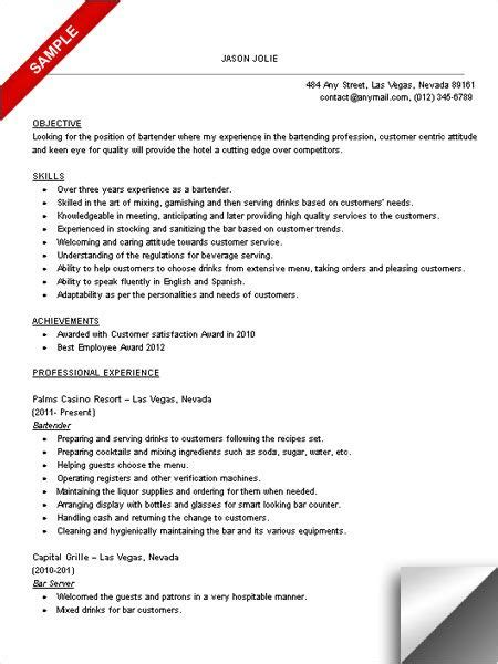 Resume For Bartender by Bartender Resume Sle Objective Skills Work It