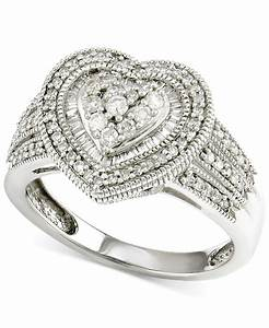 macy39s diamond heart engagement ring 1 2 ct tw in 14k With macy s jewelry wedding rings