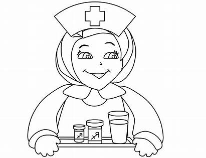 Coloring Nurse Colouring Doctor Clipart Template Sketch