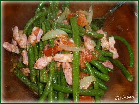 cuisiner haricots plats salade d 39 haricots verts lardons emmental tomate et