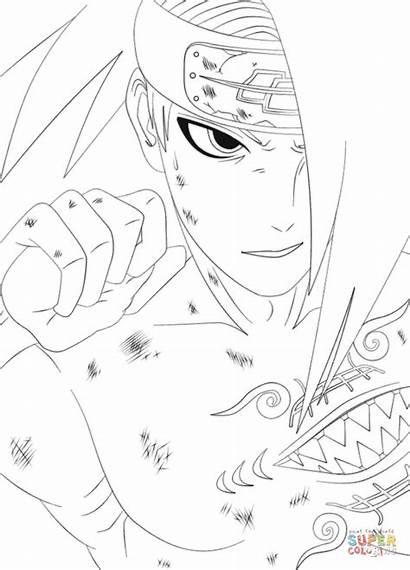 Deidara Naruto Coloring Coloriage Dessin Sasuke Colorir