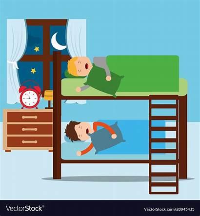 Bunk Bed Clipart Boys Bedroom Asleep Night