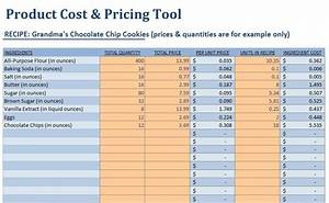 small food business food product cost pricing With food costing sheet template