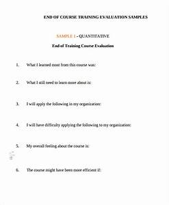 sample training evaluation form With end of course evaluation template