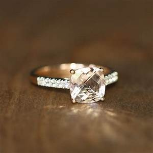 Cushion Cut Morganite Engagement Ring 14k Rose Gold Pink