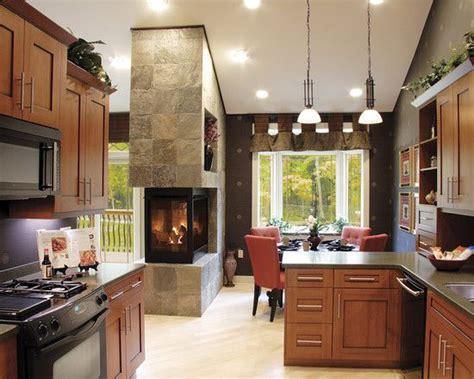 kitchen fireplace ideas see through fireplace between dining and living room