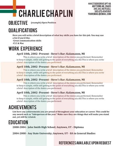 Resume Tlate by Show Employers That You Are Creative And Great Taste