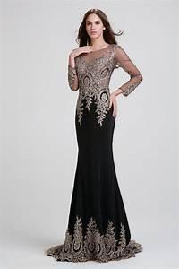Black Mermaid Evening Dresses Elegant Long Sleeve Evening ...