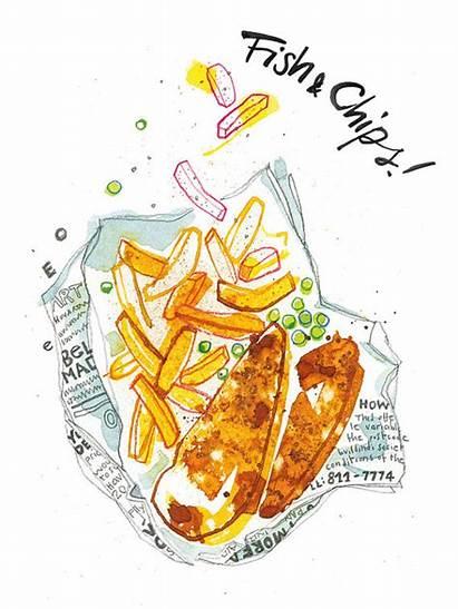 Chips Chicken Fish Decoration Fried Illustrated Garlic
