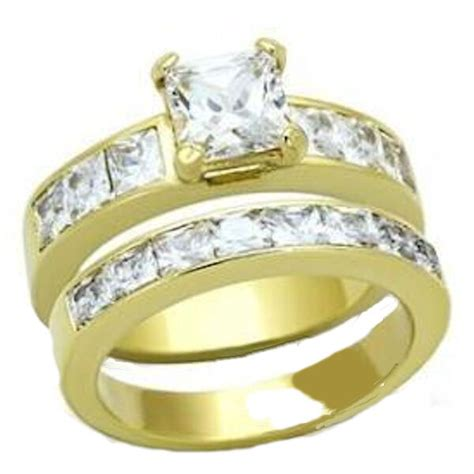 2 piece cz wedding engagement ring yellow gold plated stainless steel ebay