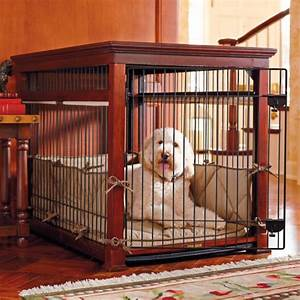 Luxury mahogany pet residence dog crate frontgate for Luxury dog cages