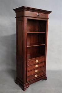 mahogany, bookcase, with, drawers, , u0026, shelves