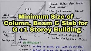 Minimum Size Of Column  Beam  Slab And Depth Of Foundation