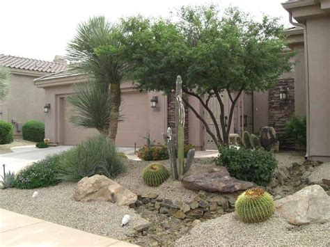 desert style landscaping ideas arizona desert front yard xeriscaping idea with a fake dry stream bed large decorative boulders