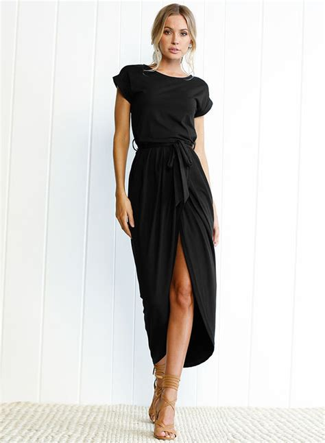 short sleeve slit maxi dress  belt stylesimocom