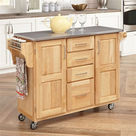 wood kitchen island cart shop home styles brown scandinavian kitchen cart at lowes com