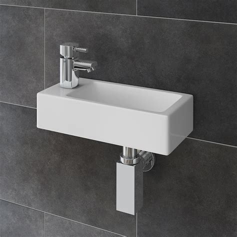 Rondo Wall Hung Small Cloakroom Basin Package   Victorian