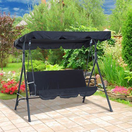 3 Person Porch Swing by Outsunny 3 Person Steel Canopy Porch Swing Black