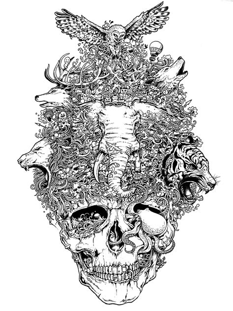 skull artkerby rosanes skull draw art skull