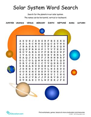 Solar System Word Search  Worksheet Educationcom