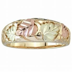 Tri Color 10K Black Hills Gold Men39s Wedding Ring With 12K