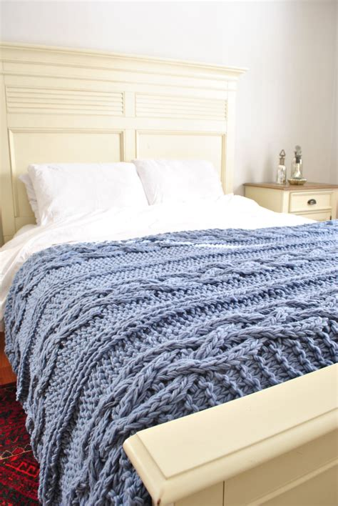 chunky cable knit blanket chunky cable knit blanket in light blue cabled by ckitschyknits